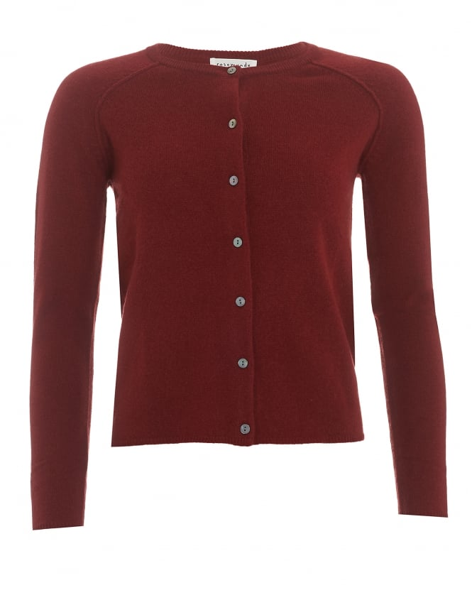 Rosemunde Womens Laica Cardigan, Maroon Wool Cashmere Blend Knit