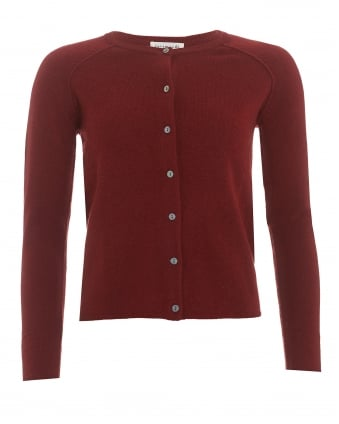 Womens Laica Cardigan, Maroon Wool Cashmere Blend Knit