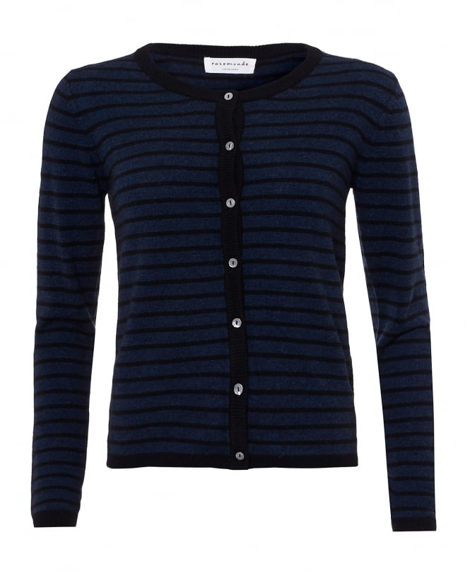 Rosemunde Womens Laica Cardigan, Navy Black Striped Cashmere Blend Knit