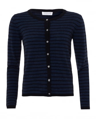Womens Laica Cardigan, Navy Black Striped Cashmere Blend Knit