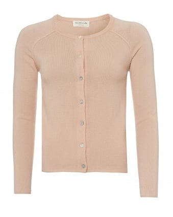 Womens Laica Cardigan, Round Neck Pale Dogswood Pink Cardi