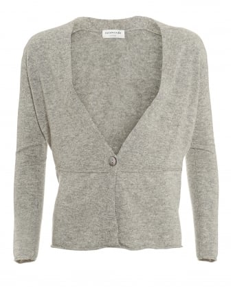 Womens Laica Cardigan, Single Button Light Grey Cardigan
