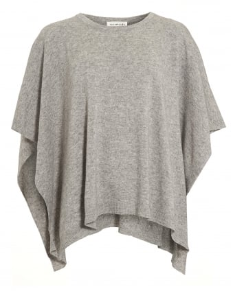Womens Laica Poncho, Grey Cashmere Blend Jumper