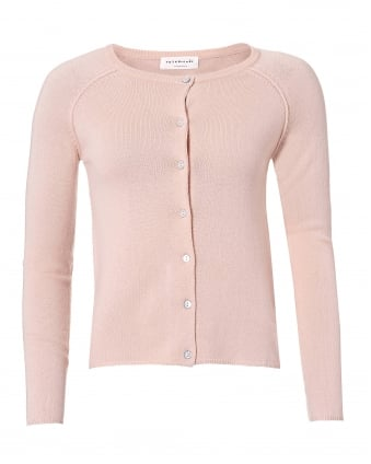 Womens Laica Rose Button Cardigan, Pink Cashmere Blend Knit