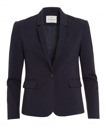 Womens Lana Blazer, Navy Blue Jersey Jacket