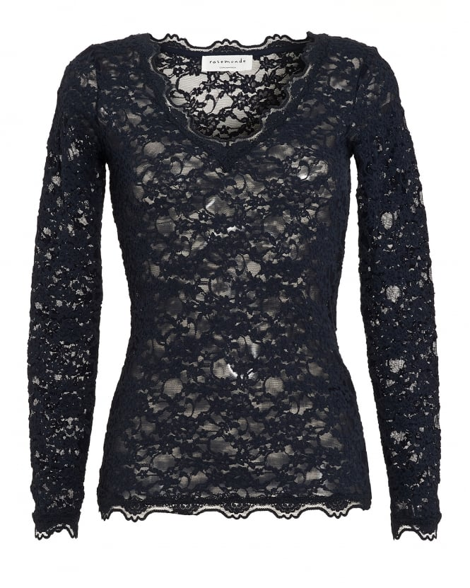 Rosemunde Womens Paris Top, Navy Blue Full Lace Mesh T-Shirt
