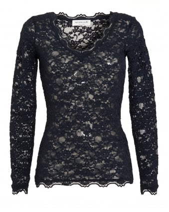 Womens Paris Top, Navy Blue Full Lace Mesh T-Shirt