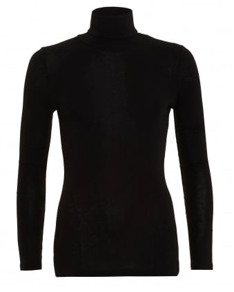 Womens Soft Wool Mix Black Roll Turtle Neck Top