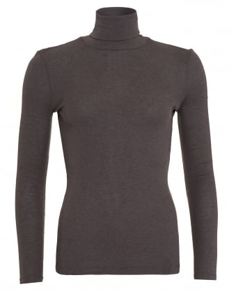 Womens Soft Wool Mix Dark Grey Roll Turtle Neck Top