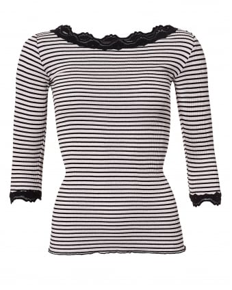 Womens Striped Babette Top, Pink and Black Lace 3/4 T-Shirt