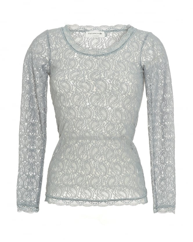 Rosemunde Womens Zelma T-Shirt, All Over Grey Lace Top