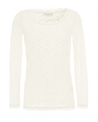 Womens Zelma Top, Ivory Full Lace Top
