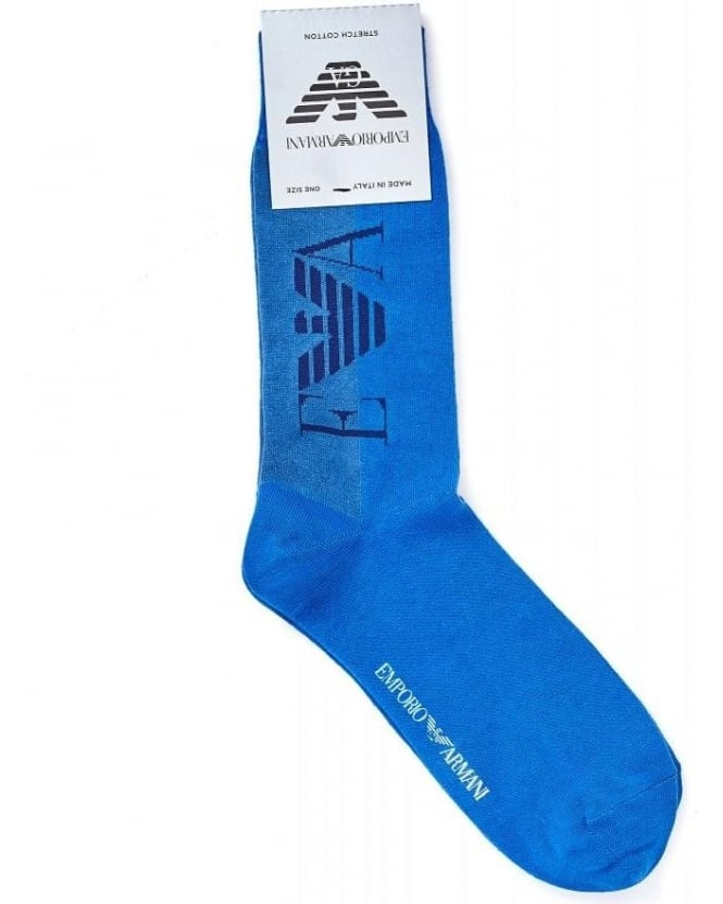 Emporio Armani Royal Blue Large Logo Ankle Socks
