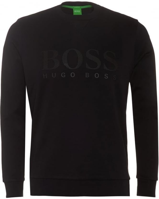 Hugo Boss Green Salbo Mens Sweatshirt Large Logo Black Jumper