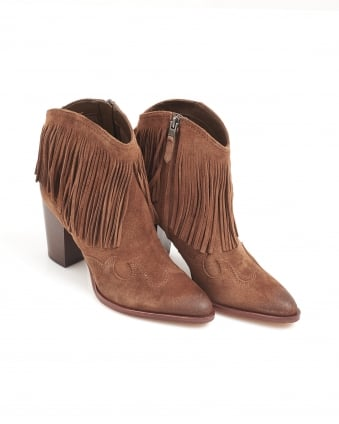 Womens Benjie Shoes, Tan Brown Suede Western Boots