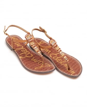 Womens Grace Sandal, Beaded Tan Flip Flops