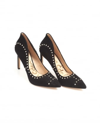 Womens Hayden Court Shoes, Black Suede Gold Studded Heels