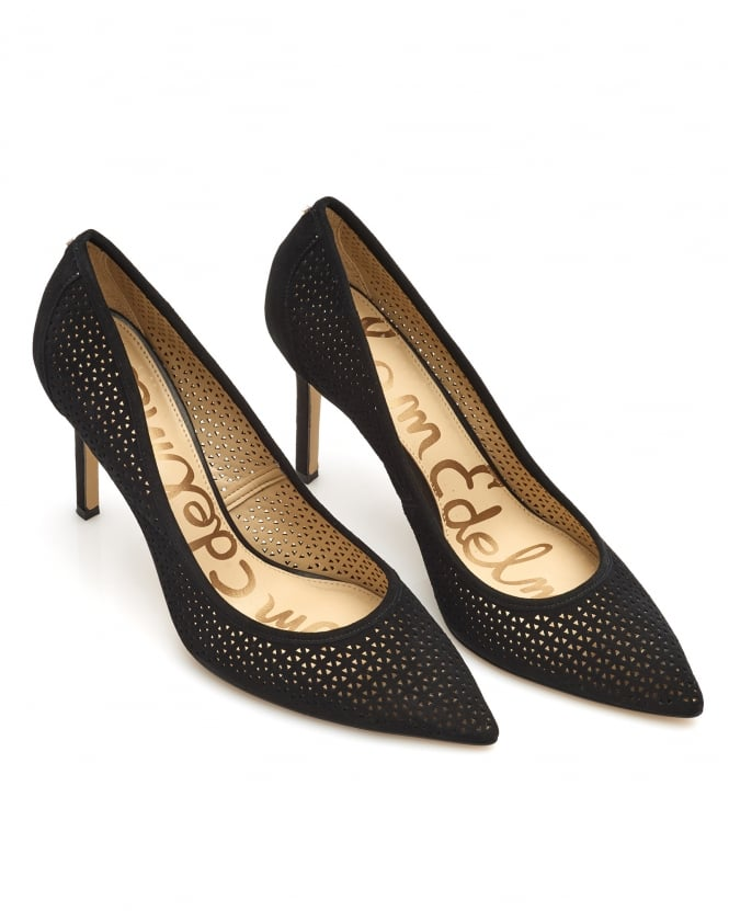 Sam Edelman Womens Hazel2 Court Shoes, Black Perforated Suede Heels