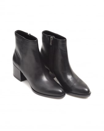 Womens Joey Shoes, Black Leather Heeled Boots
