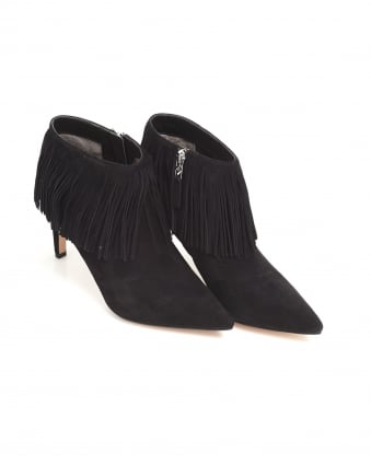 Womens Kandice Shoes, Black Suede Heeled Fringe Boots