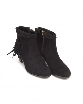 Womens Louie Shoes, Black Suede Fringe Slanted Heel Boots