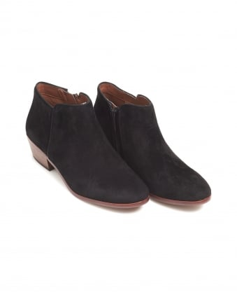 Womens Petty Shoes, Black Suede Low Heeled Boots