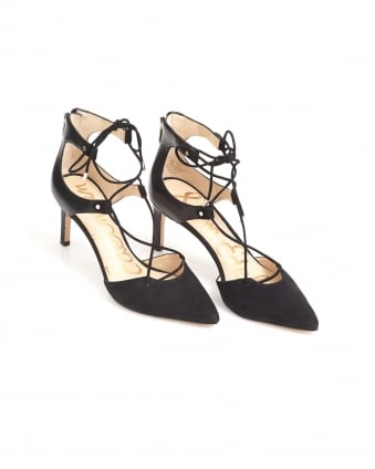 Womens Taylor Court Shoes, Black Leather Suede Lace Up Heels