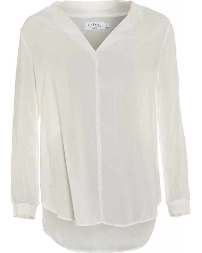 Velvet by Graham & Spencer Sarafina Shirt, Ivory V-Neck Blouse