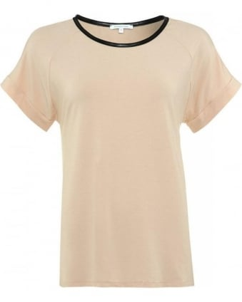 Sheer Beige Top With Faux Leather Trim