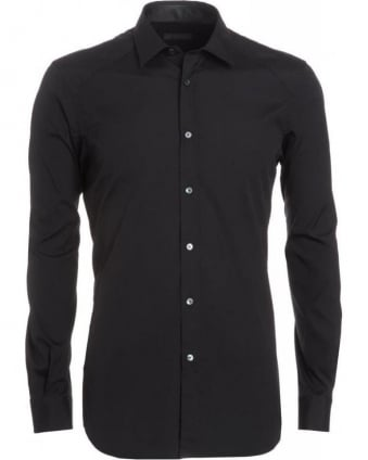 Shirt, Black Long Sleeve Slim Fit Poplin 'Dunmore' Shirt