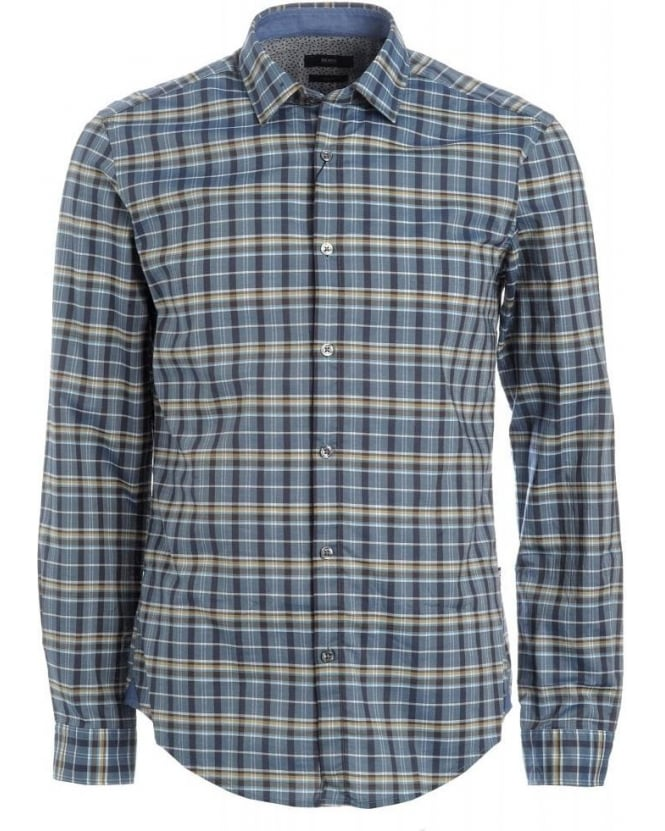 Hugo Boss Black Shirt, Blue and Yellow Checked Slim fit 'Nemos 5' Shirt