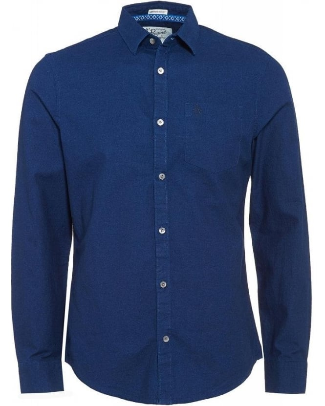 Original Penguin Shirt, Blue Chambray Effect Plain Pocket Shirt