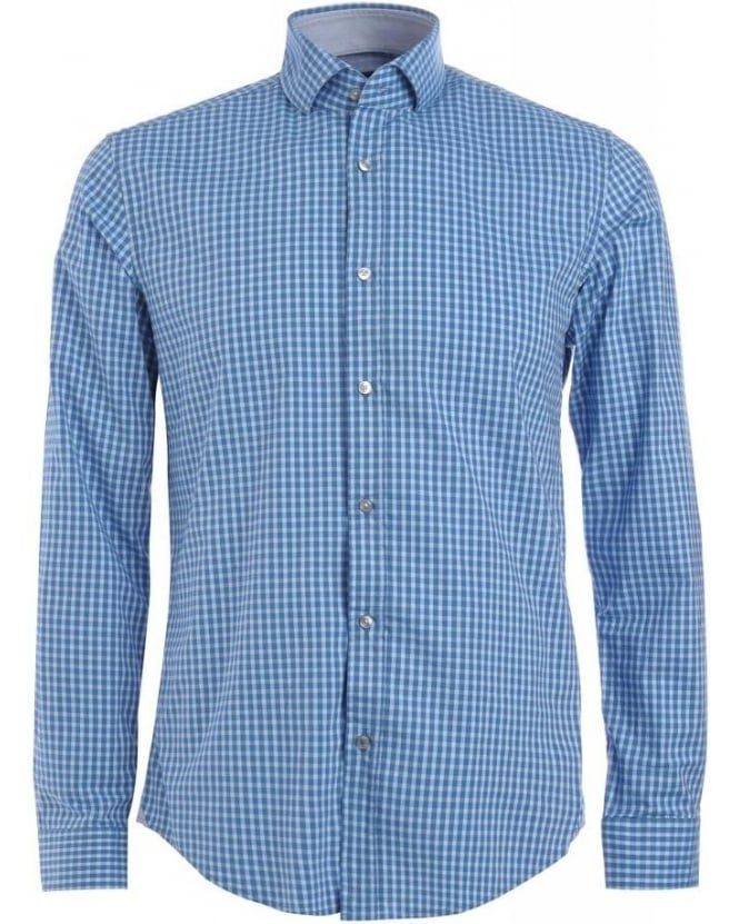 Hugo Boss Black Shirt, Blue Gingham Check Slim Fit 'Mason 4' Shirt