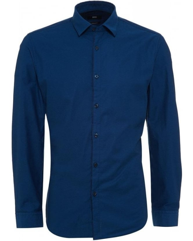 Hugo Boss Black Shirt, Blue Honeycombe Regular Fit 'Maik' Shirt