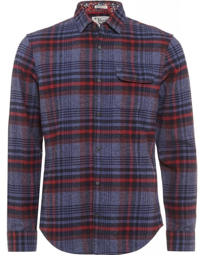 Original Penguin Shirt Blue Large Check Lumberjack Shirt