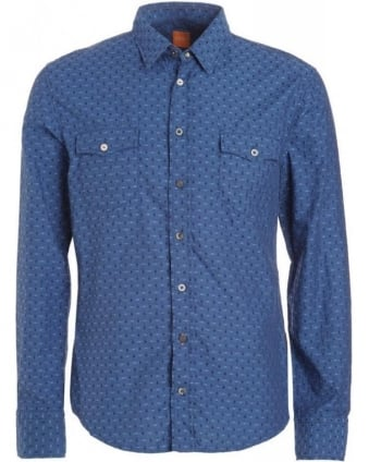 Shirt, Blue Slim Fit Micro Squared 'EdaslimE' Shirt