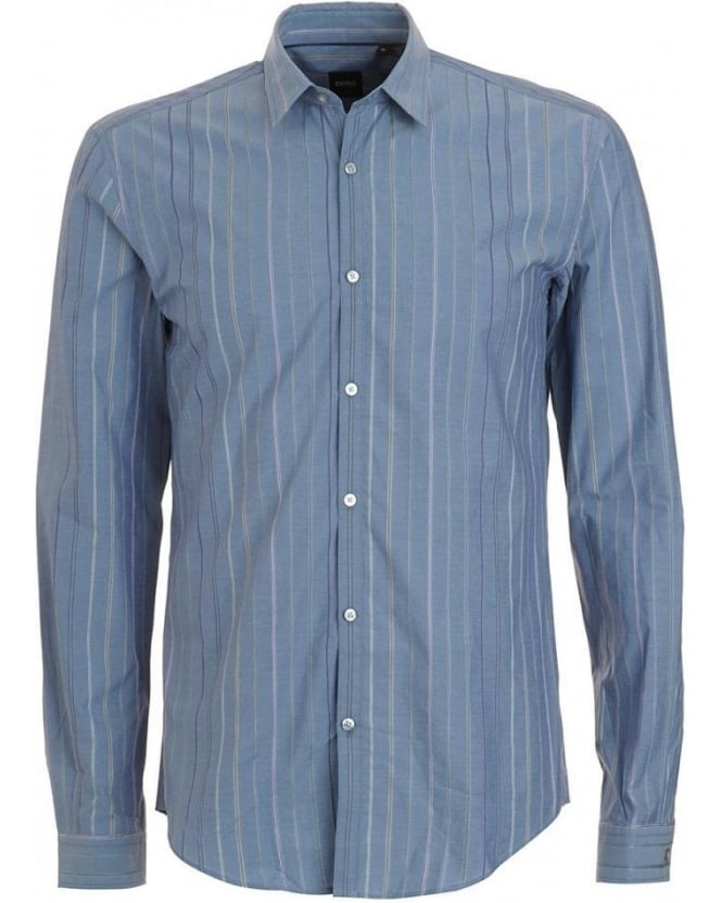 Hugo Boss Black Shirt, Blue Vertical Striped Remus Slim Fit Shirt 50237305