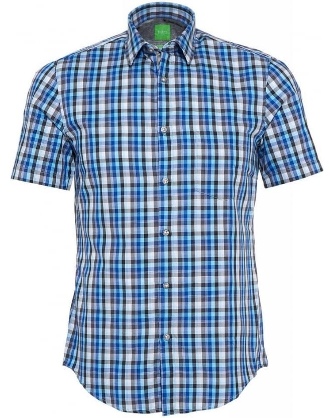 Hugo Boss Green Shirt 'C-Bowa' Blue Check Shirt