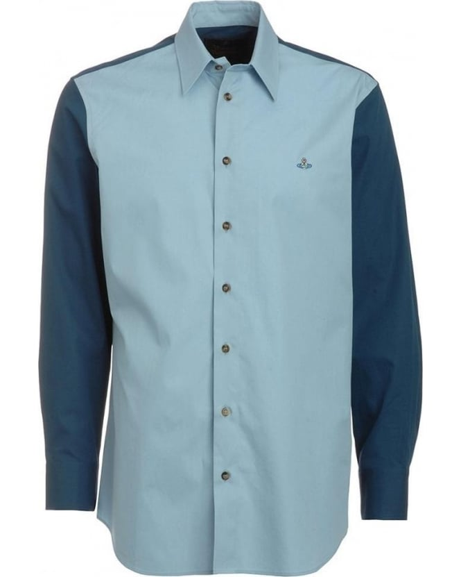 Vivienne Westwood Man Shirt, Contrast Navy Sky Panel Shirt