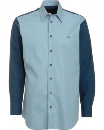 Shirt, Contrast Navy Sky Panel Shirt