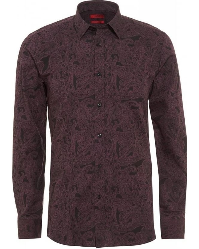 Hugo Boss - Hugo Shirt Dark Red Paisley Slim Fit Elisha Shirt