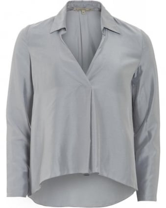 Shirt Grey Trapeze Silk Blouse