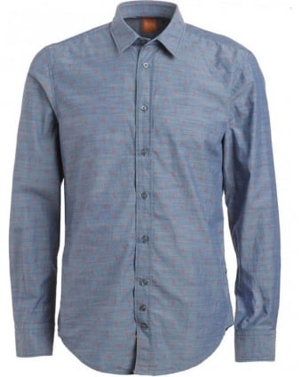 Shirt, Indigo Cliff Slim Fit Diamond Print Shirt