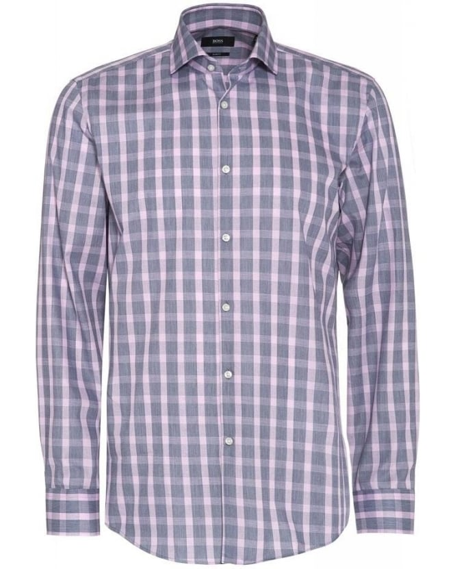 Hugo Boss Black Shirt 'Jason' Grey Pink Check Slim Fit Shirt