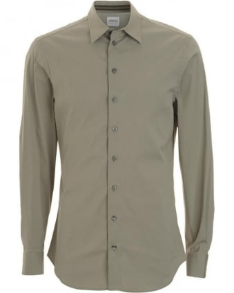 Shirt, Khaki Slim Fit Small Collar Shirt