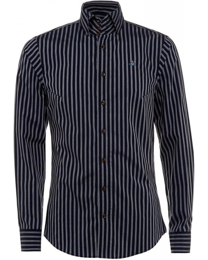 Vivienne Westwood Man Shirt Krall Blue Striped Stretch Shirt