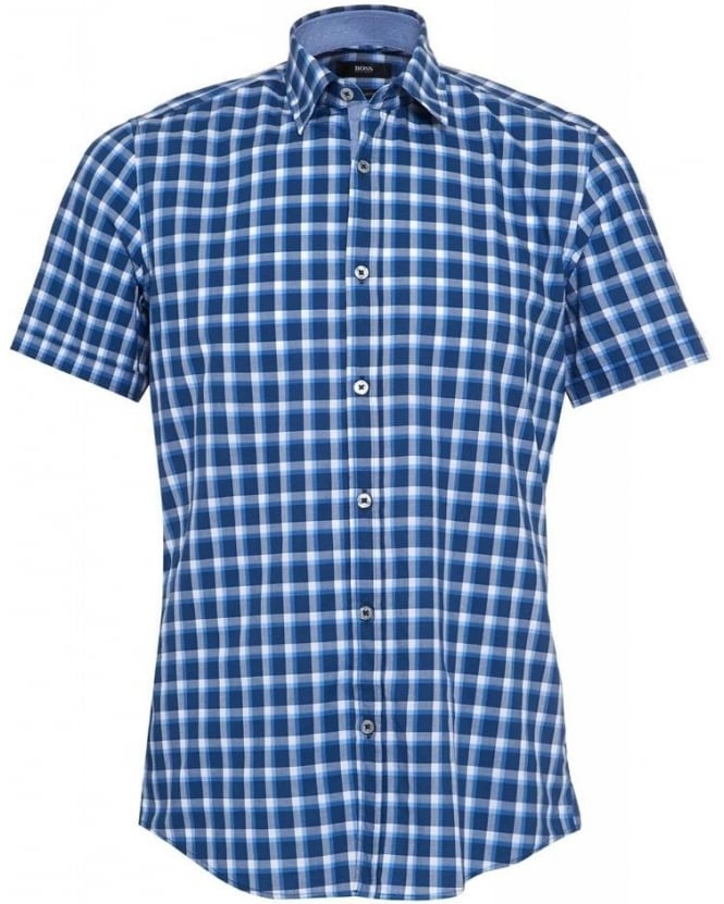 Hugo Boss Black Shirt, 'Luca 4' Navy Blue Check Short Sleeve Shirt