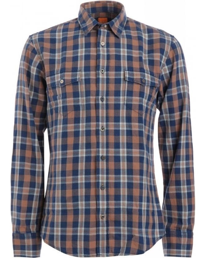 Hugo Boss Orange Shirt, Navy And Orange Slim Fit 'Edaslime' Checked Shirt