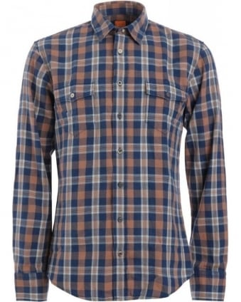 Shirt, Navy And Orange Slim Fit 'Edaslime' Checked Shirt
