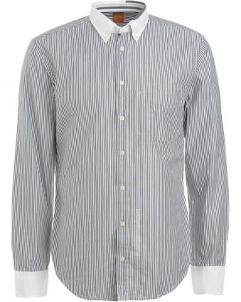Shirt, Navy And White Stripe 'Equatorinoe' Shirt